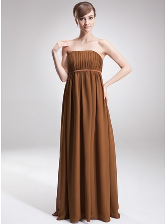 Empire Strapless Floor-Length Chiffon Chiffon Maternity Bridesmaid Dress With Ruffle