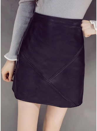 Pencil Skirts Mini Plain Leather/PU Skirts