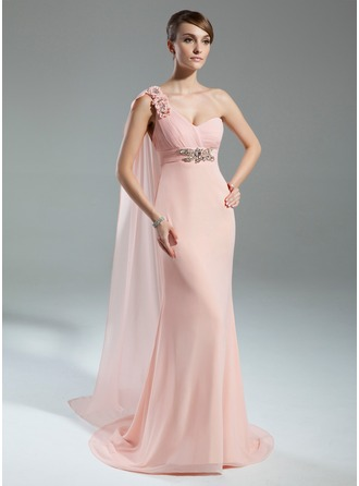 Empire One-Shoulder Watteau Train Chiffon Mother of the Bride Dress With Ruffle Beading Flower(s)
