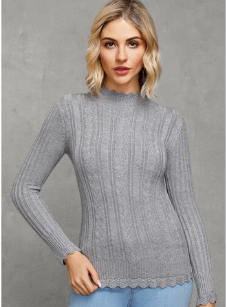 Ribbed Solid Cotton Pullovers Sweaters