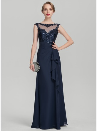Scoop Neck Floor-Length Chiffon Sequined Mother of the Bride Dress With Cascading Ruffles