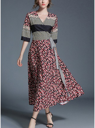 Chiffon With Bowknot/Stitching/Crumple Maxi Dress