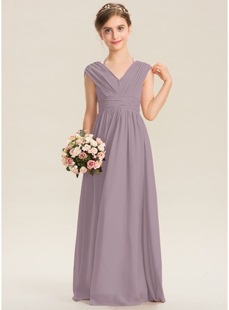 V-neck Floor-Length Chiffon Junior Bridesmaid Dress With Ruffle Bow(s)