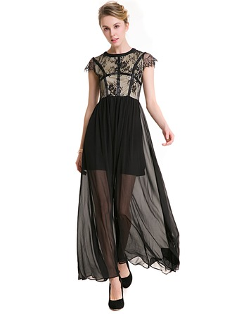 Polyester/Lace With Lace Maxi Dress