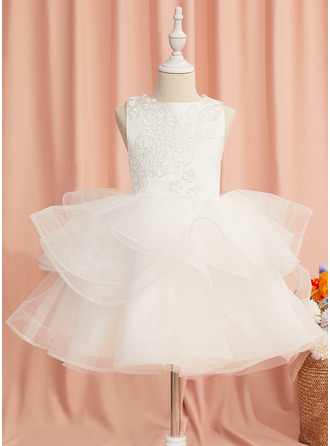 Ball-Gown/Princess Knee-length Flower Girl Dress - Tulle Sleeveless Scoop Neck With Lace/Beading/Flower(s)/Bow(s)