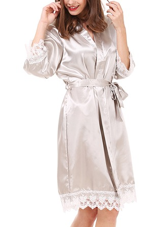 Charmeuse Bride Bridesmaid Mom Lace Robes