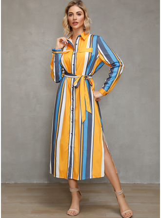 Polyester With Print/Color-block/Slit Midi Dress