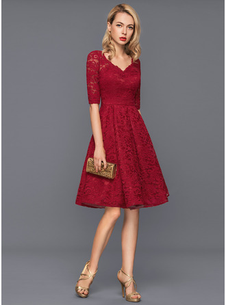V-neck Knee-Length Lace Cocktail Dress