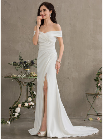 Sheath/Column Off-the-Shoulder Sweep Train Stretch Crepe Wedding Dress With Ruffle Split Front