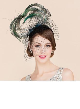 Dames Luxueux Tulle avec Feather Chapeaux de type fascinator