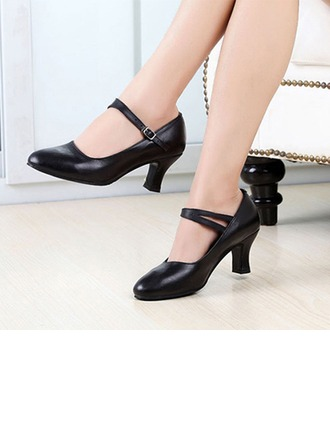 Women's Real Leather Pumps Modern Salsa Party Tango With Ankle Strap Dance Shoes