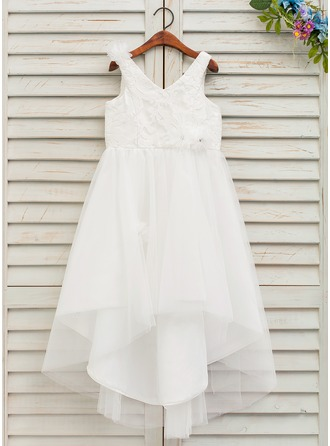 Asymmetrical Flower Girl Dress - Tulle Lace Sleeveless V-neck With Flower(s)