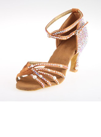 Women's Satin Heels Sandals Latin Ballroom Salsa Wedding Party With Rhinestone Ankle Strap Dance Shoes