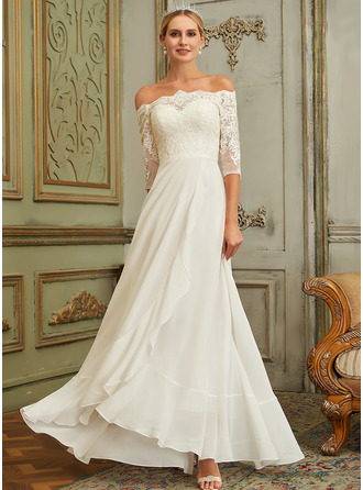 Off-the-Shoulder Asymmetrical Chiffon Lace Wedding Dress With Lace Sequins