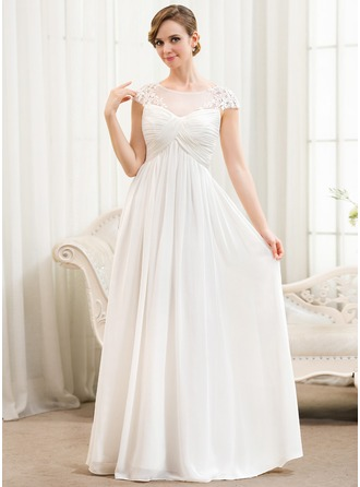 Scoop Neck Floor-Length Chiffon Wedding Dress With Ruffle Appliques Lace