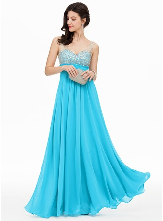 V-neck Floor-Length Chiffon Prom Dresses With Sequins
