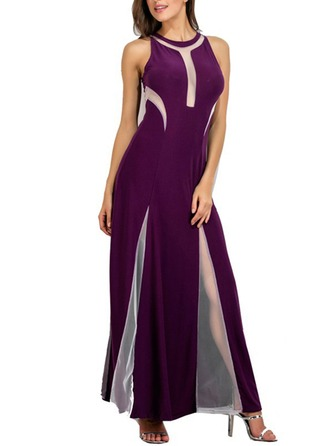 Polyester With Mesh/Stitching Maxi Dress