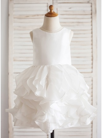 Knee-length Flower Girl Dress - Taffeta Sleeveless Scoop Neck