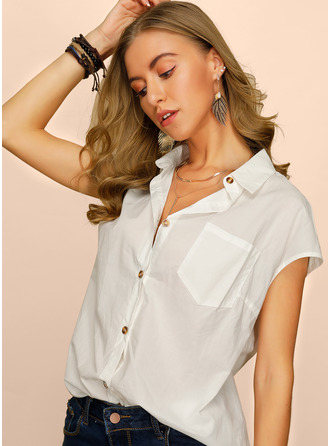 Short Sleeves Cotton Lapel Shirt Blouses Blouses