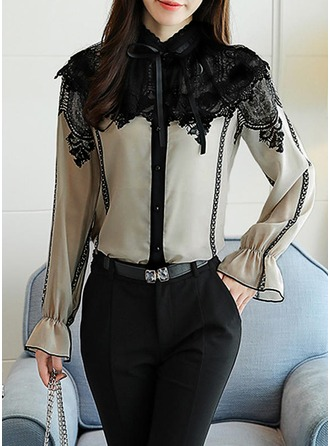 Lace Flare Sleeve Long Sleeves Chiffon Stand-up Collar Button Up Blouses Blouses