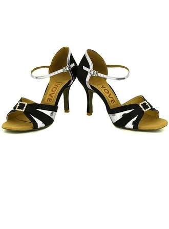 Women's Leatherette Heels Sandals Latin Salsa Party With Ankle Strap Hollow-out Dance Shoes