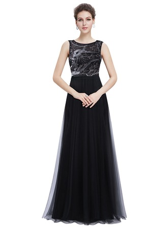 Satin/Tulle With Beaded Maxi Dress