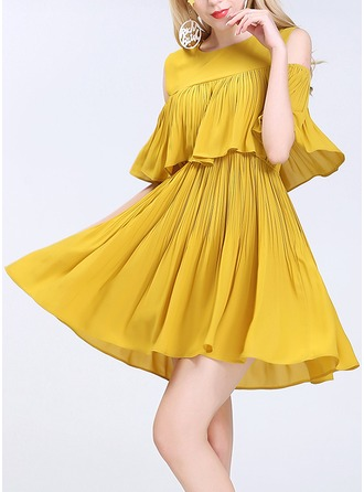 Chiffon With Crumple Above Knee Dress