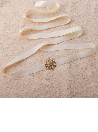 Elegant Satin/Alloy Sash With Rhinestones