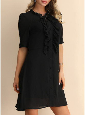 Chiffon With Button/Ruffles/Solid Above Knee Dress