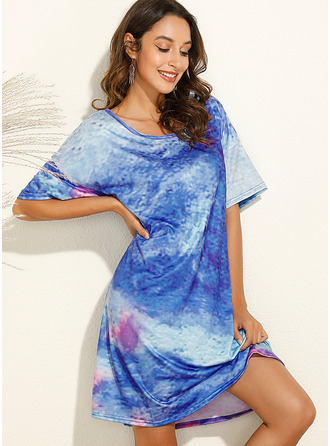 Tie Dye Shift Round Neck 1/2 Sleeves Midi Casual Tunic Dresses