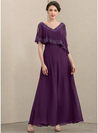 V-neck Ankle-Length Chiffon Evening Dress With Beading Sequins