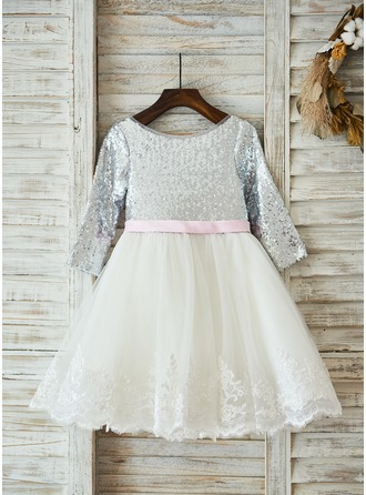 A-Line/Princess Knee-length Flower Girl Dress - Tulle/Sequined Long Sleeves Scoop Neck With Sash/Bow(s)/V Back