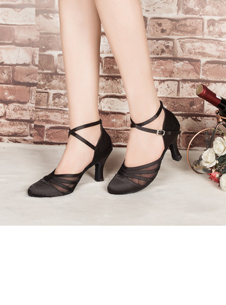 Women's Satin Heels Pumps Latin Modern Party Dance Shoes