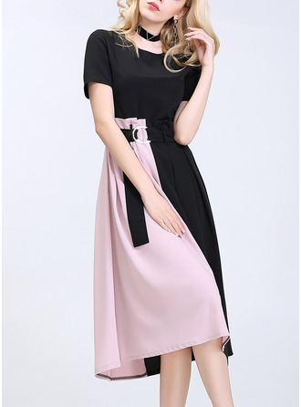 Polyester/Spandex/Cotton Blends With Crumple Knee Length Dress