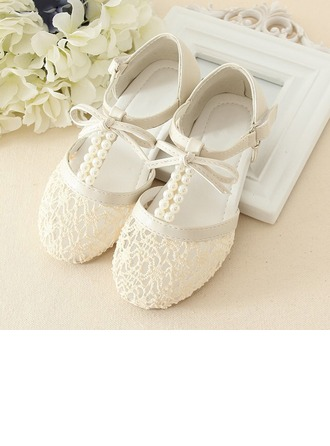 Girl's Real Leather Flat Heel Flats With Beading Bowknot