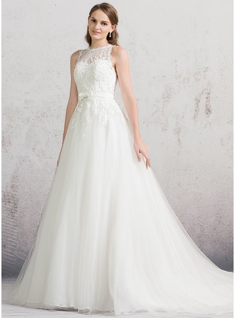 Ball-Gown Scoop Neck Chapel Train Tulle Lace Wedding Dress With Bow(s)