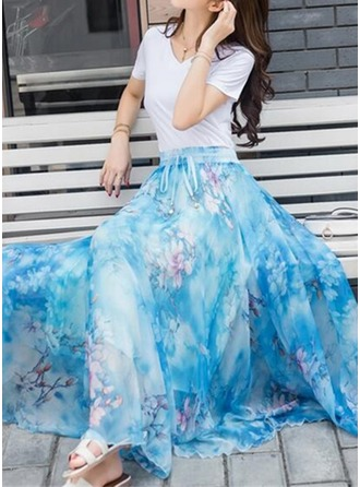 A-Line Skirts Floor-Length Floral Chiffon Skirts