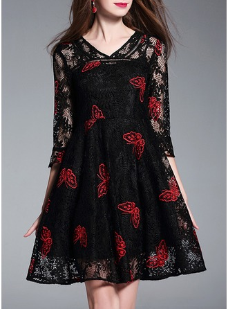 Lace With Lace/Embroidery/Hollow/Crumple/See-through Look Above Knee Dress