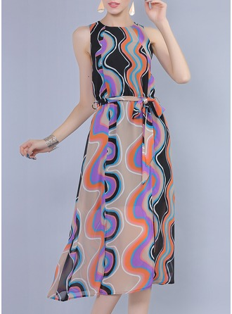 Polyester/Chiffon With Print Maxi Dress