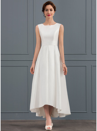 Square Neckline Asymmetrical Satin Wedding Dress
