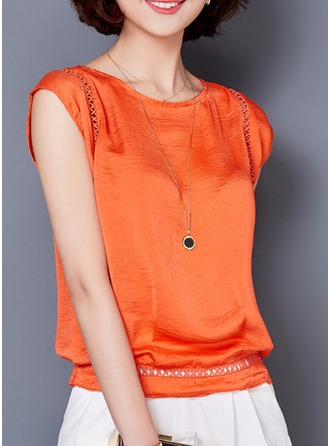 Plain Short Sleeves Polyester Round Neck Casual Blouses Blouses