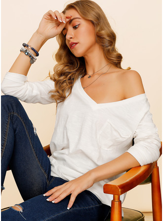Long Sleeves Polyester V Neck Knit Blouses