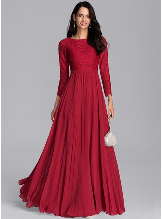 Scoop Neck Floor-Length Chiffon Evening Dress With Pleated