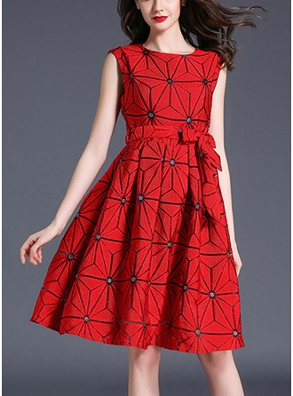 Polyester With Bowknot Above Knee Dress