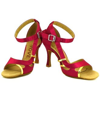 Women's Satin Heels Sandals Latin Salsa Party With Ankle Strap Dance Shoes