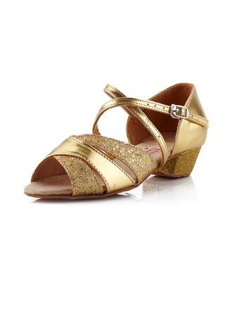 Women's Kids' Leatherette Sandals Ballroom With Ankle Strap Dance Shoes