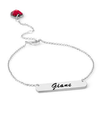 Christmas Gifts For Her - Custom Platinum Plated Sterling Silver Delicate Chain Name Bracelets Birthstone Bracelets