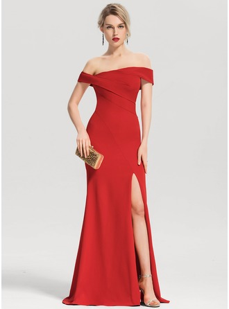 Trumpet/Mermaid Off-the-Shoulder Floor-Length Stretch Crepe Evening Dress