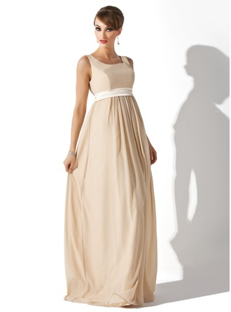 Empire Square Neckline Floor-Length Chiffon Chiffon Maternity Bridesmaid Dress With Sash