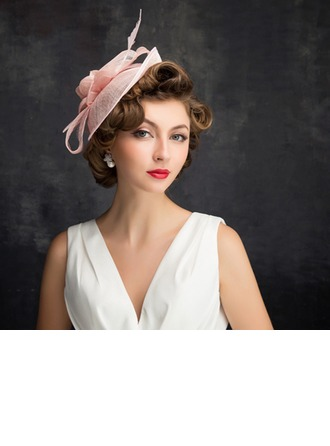 Dames Beau Feather/Tulle/Lin avec Feather Chapeaux de type fascinator